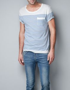 simple tee for spring/summer Men's blue and white striped pocket t-shirt