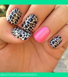 Hot pink accent nail. | Stephanie K.s (kennedy) Photo | Beautylish