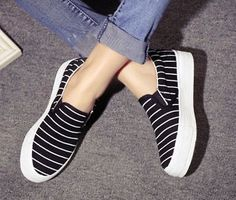 New Women's Canvas Platform Flats Slip On Sneakers Stripes Wedge Casual Shoes