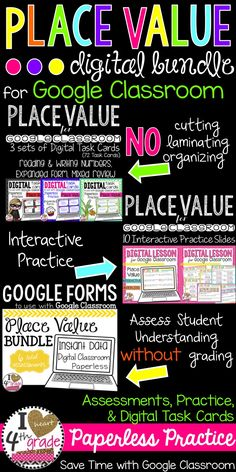 Place Value for 4th grade, Digital Resources for Google Classroom using Google Slides and Google Forms. Great for Blended Classrooms, integrating technology, or 1:1 classrooms. Paperless activities to promote understanding.