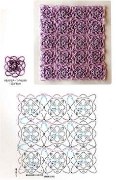 Continuous crochet flowers