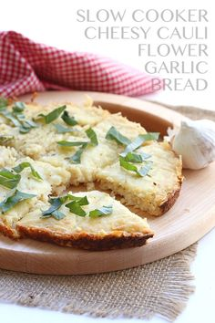 Cheesy Slow Cooker Cauliflower Bread Recipe - naturally gluten-free and healthy