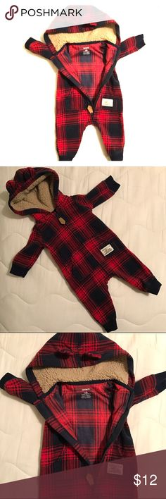 Brand new*** Carter's newborn fleece bear onesie Brand new*** Carter's newborn fleece red and navy plaid bear onesie. Warm and cute! My son was long and chubby and never got to wear this. Carter's One Pieces