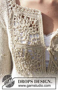 Ravelry: Elbe pattern by DROPS design Crochet Cardigan, Crochet Lace, Free Crochet, Knitting Patterns Free, Free Knitting, Crochet Patterns, Knitting Tutorials, Drops Design, Sweater Knitting Patterns