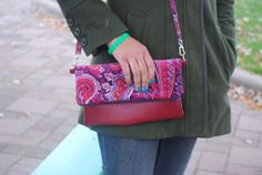 Paisley Vegan Leather Fold Over Reversable clutch by BrandEShop, $40.00