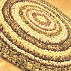 "Rag rug, crochet, round, brown, spices, cottage, country, eco, 26""."