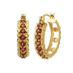 Garnet Hoop Earrings in 18K Gold over Sterling Silver available at #HelzbergDiamonds
