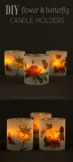 Make a set of 4 lovely butterfly and flower candle holders in minutes! Download free vintage illustrations to make your own beautiful frosted luminaries! - A Piece Of Rainbow