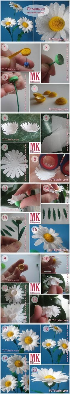 DIY Quilled Wild Daisy Bouquet / link not found but like leaves on daisies Crepe Paper Flowers, Felt Flowers, Diy Flowers, Fabric Flowers, Quilling Paper Craft, Quilling Flowers, Paper Crafts, Quilling Tutorial, Diy Tutorial