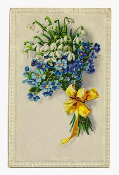 Antique Images: Free Digital Download Flower Graphic of Wildflower Bouquet with Yellow Ribbon