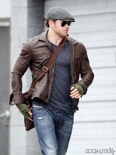 Kellan Lutz Brown Leather Jacket, Deisel Jeans - ezy