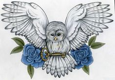 owl+rose+tattoos | Owl Shoulder Tattoo Design For College Girls 2011