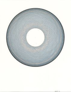 "Original Artwork Abstract Art Circle Pattern Blue Ink Contemporary Geometric Line Drawing ""Blue Haze"" 11"" x 14"""