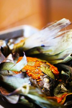 Pepes Ikan Mujair (Indonesian Spicy Baked Tilapia Wrapped In Banana Leaves).