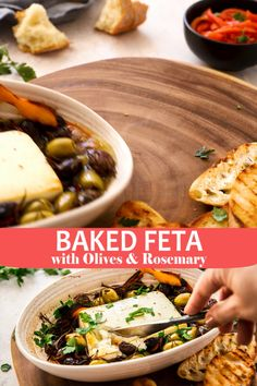 Baked Feta with Olives and Rosemary is the perfect appetiser for last-minute guests. It is quickly and easily prepared; just 10 minutes (or less) to prepare, and, while it bakes in the oven, you can… Vegetarian Appetizers, Appetizer Recipes, Tapas Recipes, Quiche Recipes, Greek Dinners, Dinner Party Menu, Easy Dinner Party Recipes, Dinner Party Starters, Dinner Party Appetizers