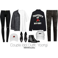 Couple Idol Outfit: Yoongi by btsoutfits on Polyvore featuring polyvore, fashion, style, H&M, Y/Project, J Brand, High Heels Suicide, Balmain and clothing
