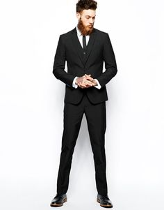 Image 1 of ASOS Slim Fit Suit Black Pindot