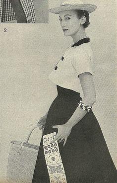 Black Dress with White  Bolero 1954