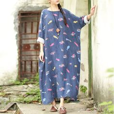 Women Print Cotton Linen Casual Loose Maxi Dress