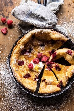 Raspberry Lemon Ricotta Dutch Baby –> Saturday night breakfast for dinner because that's what my mom taught me to do. She's the BEST and BRIGHTEST and trust me, this Dutch Baby… Brunch Recipes, Breakfast Recipes, Dessert Recipes, Summer Recipes, Coctails Recipes, Breakfast Casserole, Baby Breakfast, Breakfast Ideas, Half Baked Harvest
