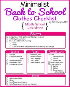 Fashion checklist for middle school girls!