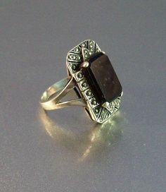 Vintage Sterling Marcasite Onyx Cocktail Ring by LynnHislopJewels
