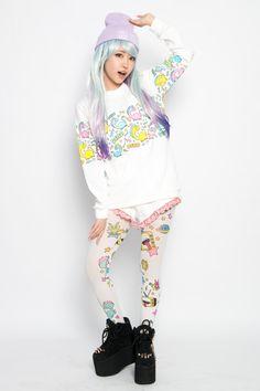 pastel hair, beanie, kawaii design sweater, tights, platform shoes