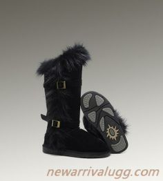 2014 On Sale Ugg Women 1984 Fox Fur Tall Boots Black