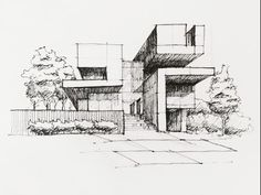 Architectural Sketching by lt khang - Drawing Technique - Art sketches Architecture ideas Croquis Architecture, Interior Architecture Drawing, Architecture Drawing Sketchbooks, Architecture Concept Drawings, Classical Architecture, Architecture Layout, Architectural Presentation, Drawing Techniques, House Sketch
