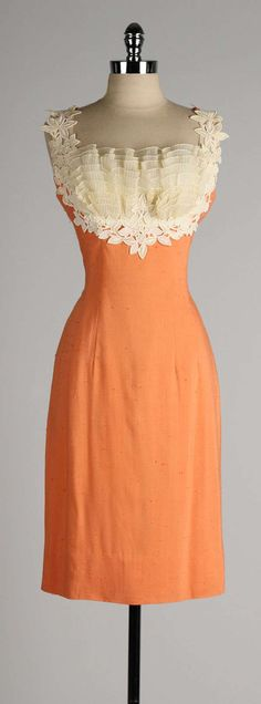 Vintage 1950's Lilli Diamond Apricot Lace Cocktail Dress - love the bodice & cut. Not so much the orange