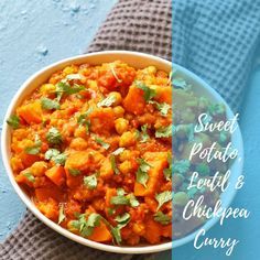 Warm up your winter nights with adelicious and hearty bowl of sweet potato, lentil and chickpea curry. Perfect for meatless Monday!