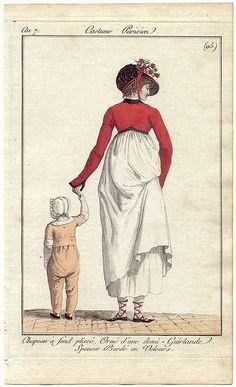 1798-9. Le costume parisien, chapeau à fond plissé, orné d'une demi-guirlande. spencer bordé en velours.
