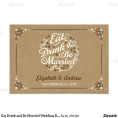 Eat Drink and Be Married Wedding R.S.V.P. 3.5x5 Paper Invitation Card