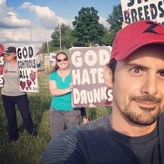 Brad Paisley takes Selfie in front of Westboro Baptist Church Protesters at his Concert