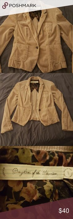 Corduroy Blazer Daughters of the Liberation ribbed velvet aka corduroy blazer. Bought from Anthropologie. Only worn one time, basically new! Feel free to make an offer 😊 Modeling available upon request 😘 Daughters of the Liberation Jackets & Coats Blazers
