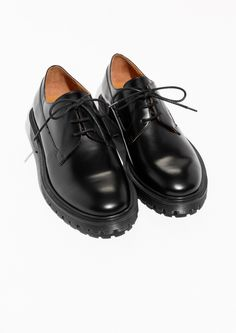 & Other Stories image 2 of Dressed Leather Lace Up Loafer  in Black