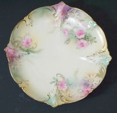 RS Prussia Plate with Pink Roses Red Wreath Mark