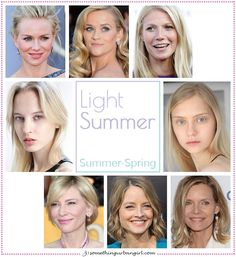 Light Summer, Summer-Spring seasonal color celebrities by 30somethingurbangirl.com / Although I can't be certain about the celebrities' exact seasonal color palettes I would like to show some examples to visualize each color palettes. || #lightsummer #seasonalcolorpalette #lightsummercelebs #seasonalcolors #celebrities