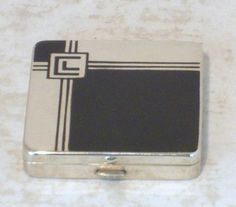 RARE UNUSED ART DECO CHROME AND ENAMEL POWDER COMPACT BY VOLUPTE MINT CONDITION (07/20/2015)