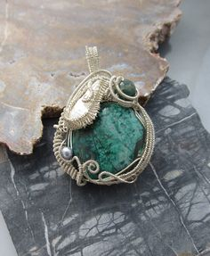 Wire Wrapped Chrysocolla Pendant. $125.00, via Etsy.