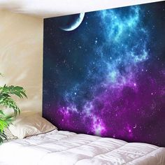 Night Sky Pattern Tapestry Microfiber Wall Hanging - BLUE W91 INCH * L71 INCH