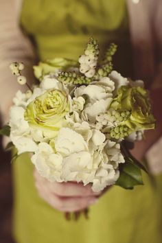 chartreuse and white bouquet