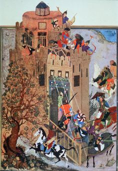 'Attack against the fort of Urganj', illustration of the Persian book Zafarnama written by Sharaf al Din Yazdi (died 1454). The illustration is made by the Persian painter Bihzad (1450-1536).