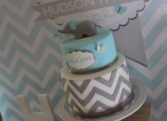 """like the butterfly pics would be cute with her name on front & few butterflies scattered to offset on topper. *****Photo 2 of Chevron and Blue Elephant / Baptism """"Hudson's Chevron and Blue Elephant Christening"""" Baptism Party, Baby Party, Baptism Ideas, 1st Birthday Parties, Boy Birthday, Birthday Ideas, Birthday Cake, Baby Shower Cakes, Baby Boy Shower"""