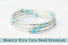 Supplies needed to make your own DIY bracelet:  Memory Wire Tube Beads- 3 packs of 4 will make this look Accent Beads you love (I used a few inches of 4mm roundTurquoise Shell Twister Beads) Round Nose Jewelry Pliers Optional but helpful – Memory Wire Shears