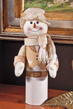 Caja para botella de muñeco de nieve Christmas 2014, Merry Christmas, Christmas Gifts, Christmas Decorations, Make A Snowman, Snowman Crafts, Holidays And Events, Gift Tags, Teddy Bear