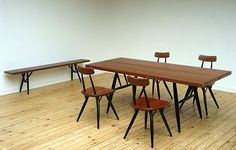 Pirkka chairs table and bench Ilmari Tapiovaara Finland 1955. Modern online gallery. Featuring a varied selection of vintage furniture and architect furniture. At http://www.furniture-love.com/vintage/furniture/
