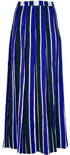 Striped Long Skirt - Lyst