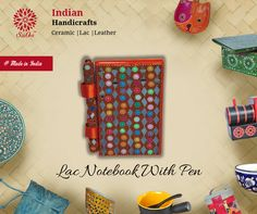 Now take down notes in the class or at meetings with this beautifully designed lac notebook. A pen is also attached with it. #LacNotebook #HandmadeItems #notebook