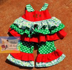 Girls Christmas Party outfit Christmas Dress by StitchinAllAbout